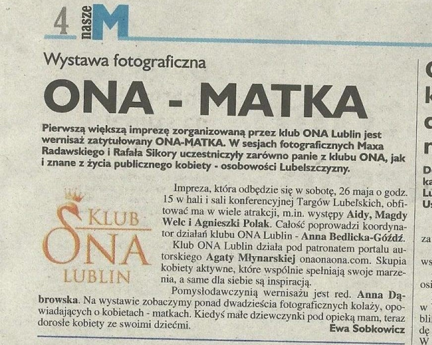 "WYSTAWA ""ONA - MATKA"""