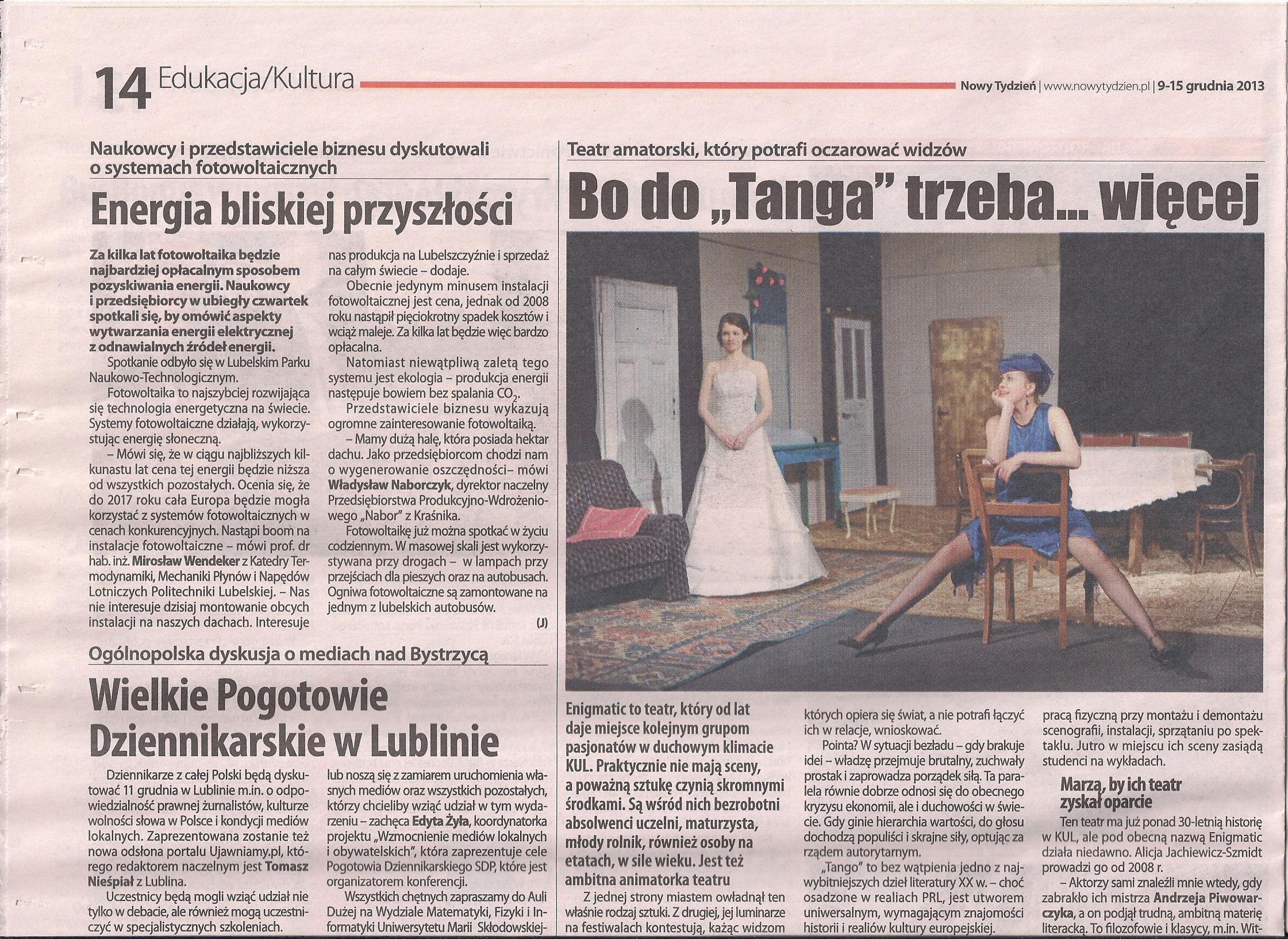 """TEATR AMATORSKI, KTÓRY POTRAFI OCZAROWAĆ WIDZÓW - """"NOWY TYDZIEŃ"""" 9-15 GRUDNIA 2013"""